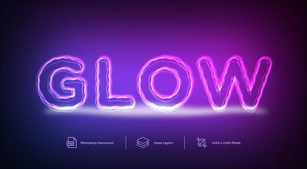Glow lines teksteffect ontwerpsjabloon stijleffect Premium Psd