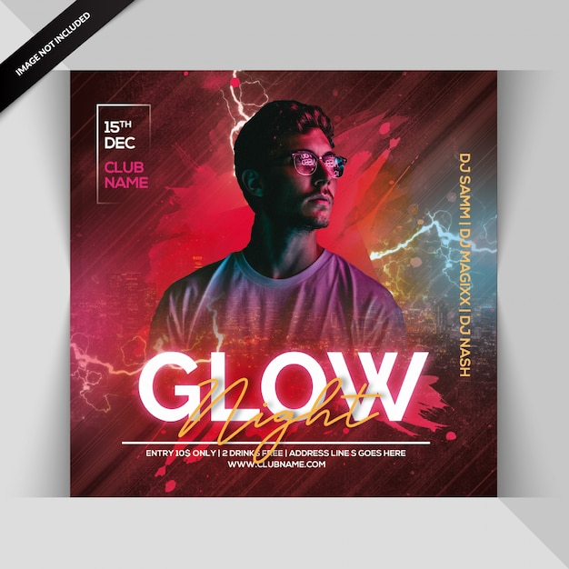 Glow night party uitnodiging of vierkante sjabloon folder Premium Psd