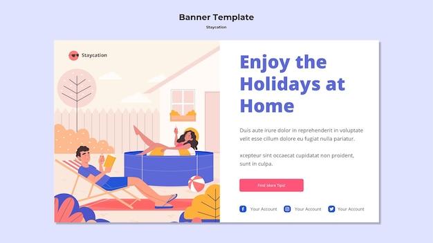 Goditi le vacanze a casa design del banner Psd Gratuite