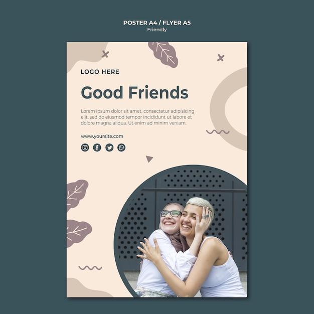 Goede vrienden poster afdruksjabloon Gratis Psd