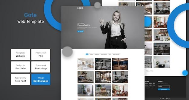 Gote portfolio websjabloon Premium Psd