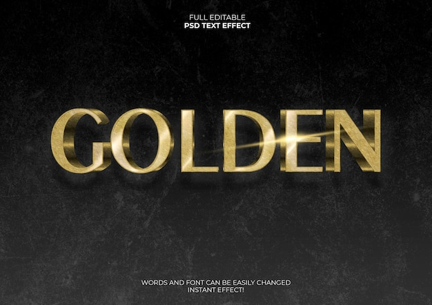 Gouden 3d-teksteffect Gratis Psd