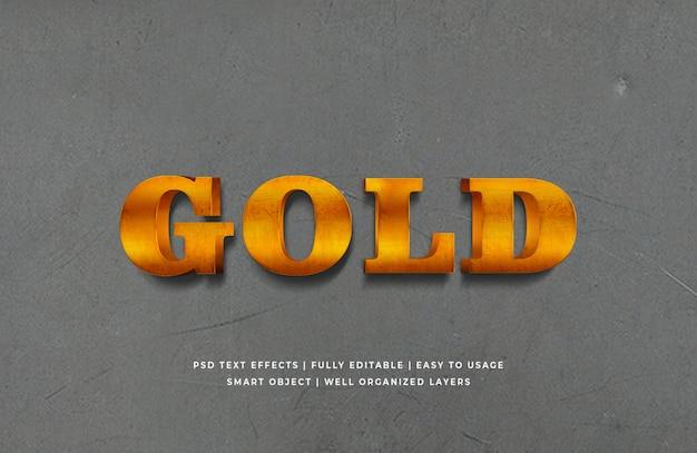 Gouden 3d-tekststijleffect premium psd Premium Psd