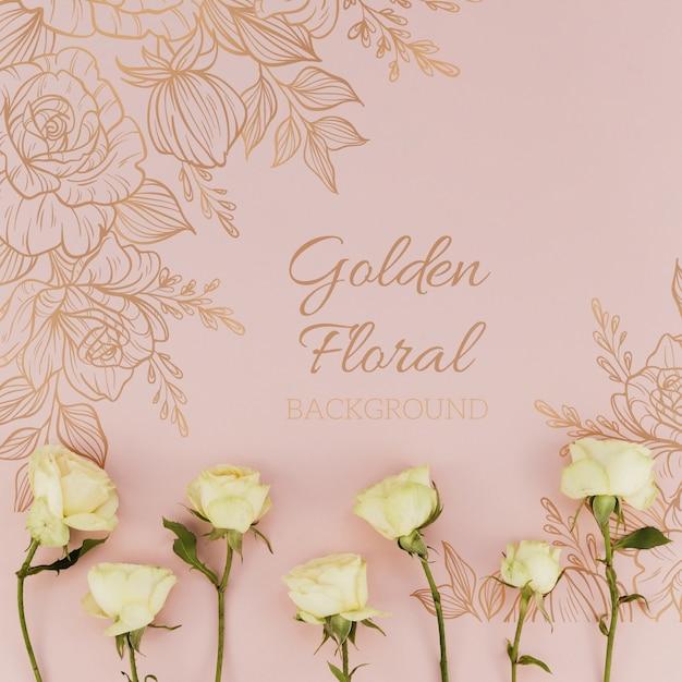 Gouden bloemenachtergrond met rozen Gratis Psd