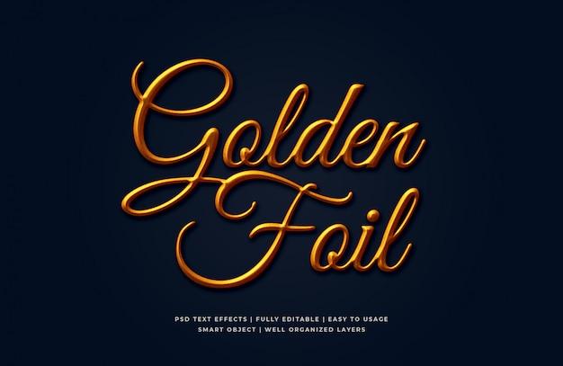 Gouden folie 3d tekststijleffect mockup Premium Psd