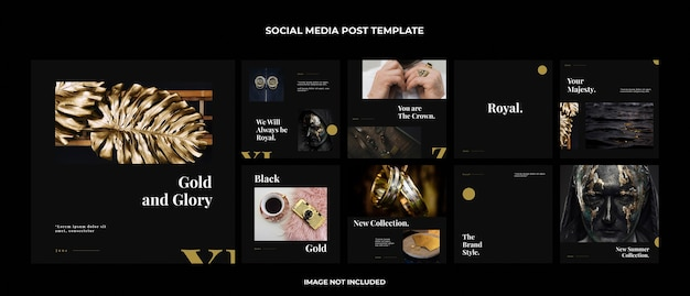 Gouden instagram postsjabloon set Premium Psd