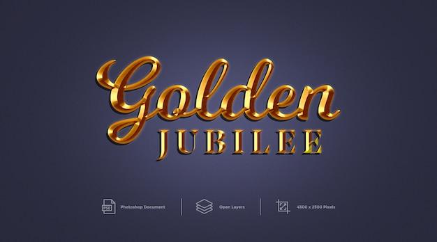 Gouden jubileum teksteffect ontwerp photoshop laagstijleffect Premium Psd