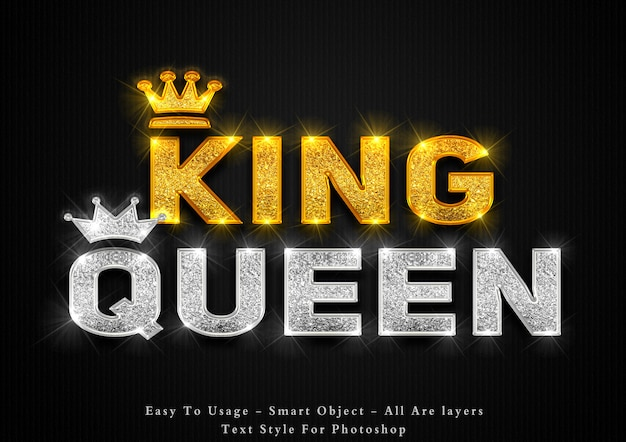 Gouden king en silver queen tekststijleffect Premium Psd