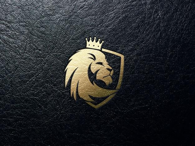Gouden leeuw logo in leer Premium Psd