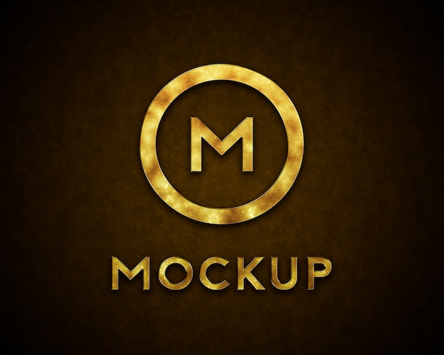 Gouden logo mockup met vlekken Premium Psd