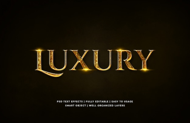 Gouden luxe 3d tekststijleffect Premium Psd