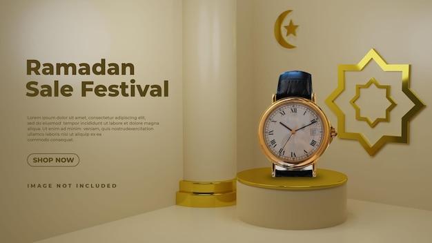 Gouden luxe ramadan 3d-podiumproductweergave mockup Premium Psd