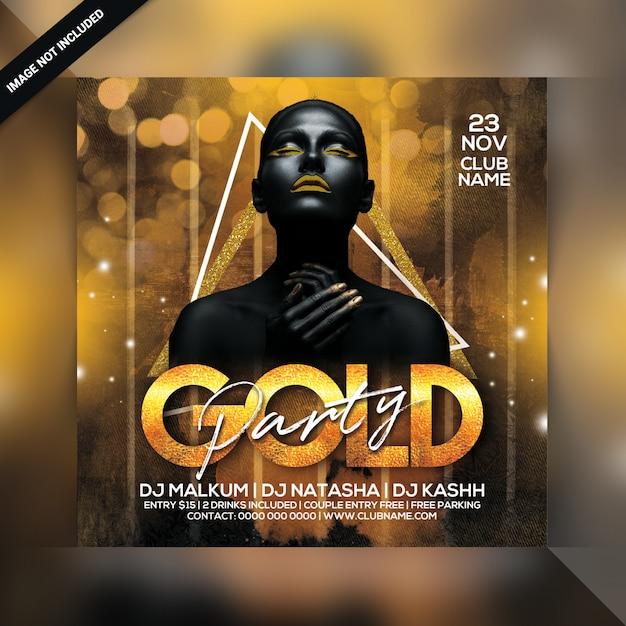Gouden partij flyer Premium Psd