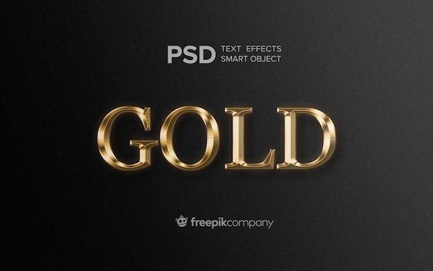 Gouden teksteffect op donkere achtergrond Premium Psd