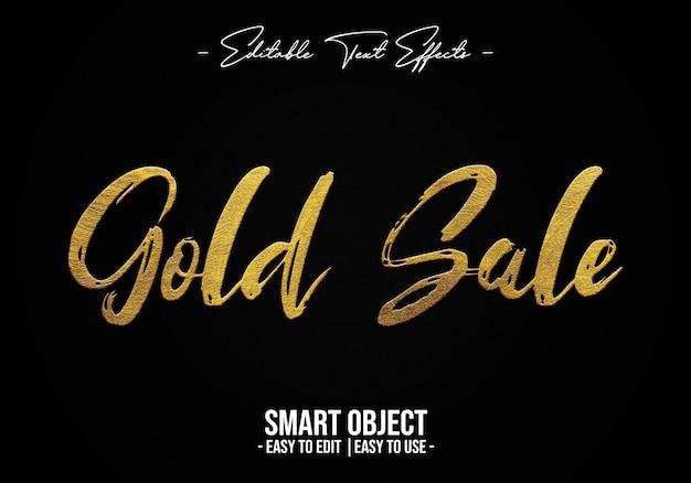 Gouden verkoop tekststijleffect Premium Psd