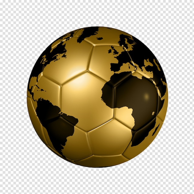 Gouden voetbal voetbal wereldbol Premium Psd