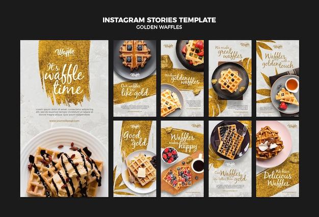 Gouden wafels instagram verhalen sjabloon Premium Psd