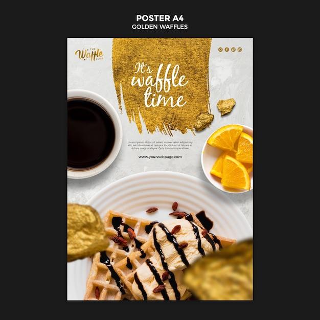 Gouden wafels met chocoladeposter Gratis Psd