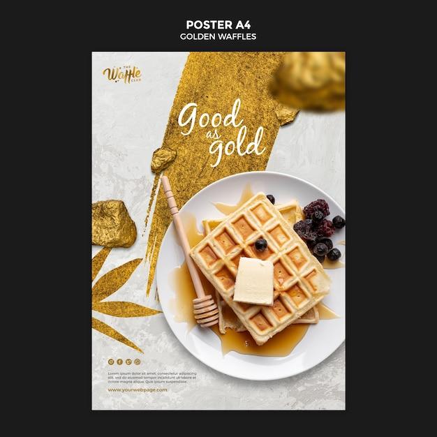 Gouden wafels met honing poster sjabloon Gratis Psd