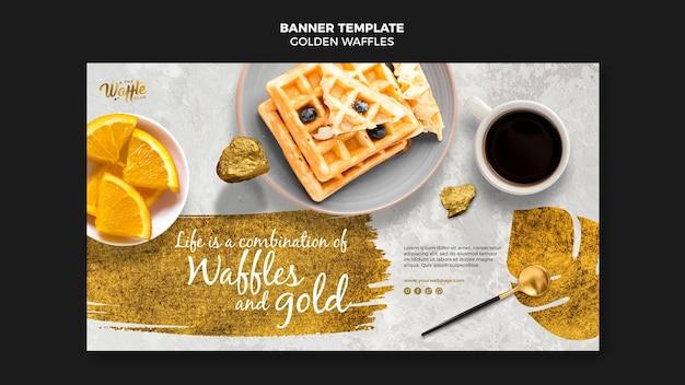 Gouden wafels met koffiekopje sjabloon voor spandoek Gratis Psd