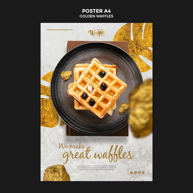 Gouden wafels poster sjabloon Gratis Psd