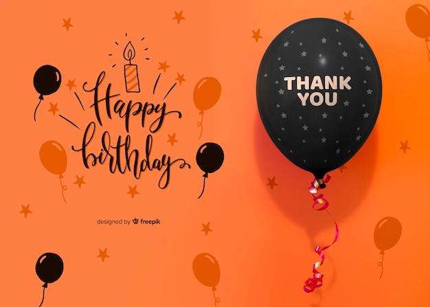Gracias y feliz cumpleaños con confeti y globos. PSD gratuito