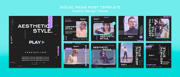 Grafische ontwerptrends op sociale media plaatsen Gratis Psd
