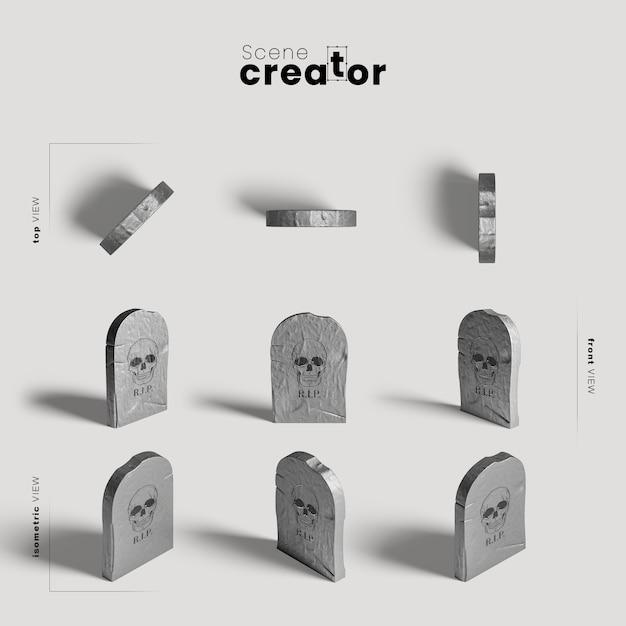 Grafsteen verscheidenheid aan hoeken halloween scene maker Gratis Psd