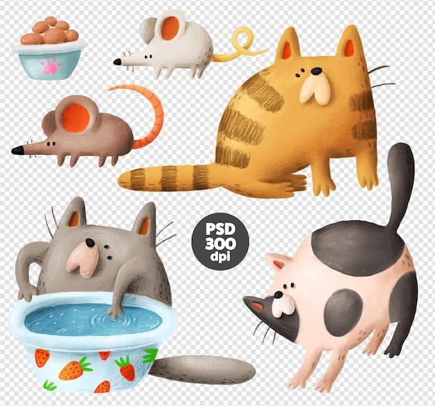 Grappige katten hand getrokken illustraties Premium Psd