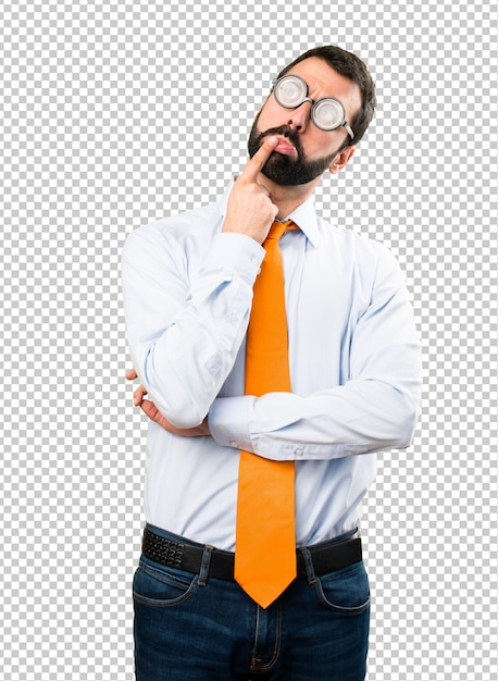 Grappige man met een bril twijfels Premium Psd