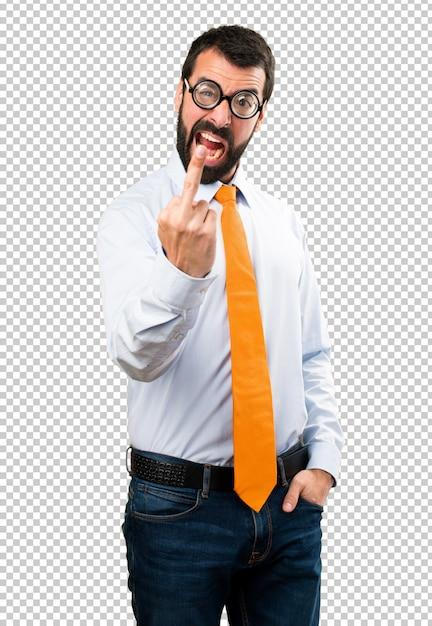 Grappige mens die met glazen hoorngebaar maakt Premium Psd
