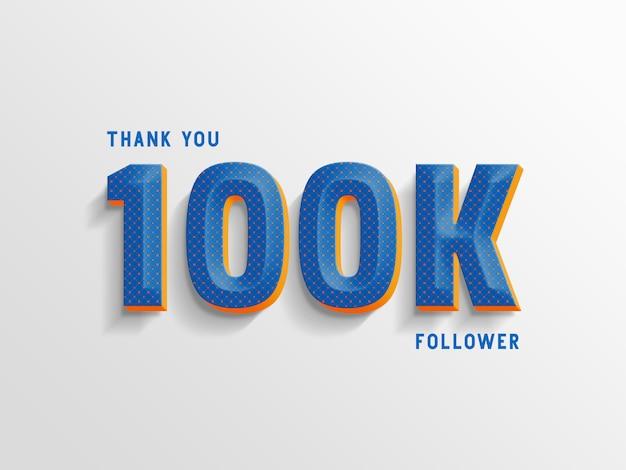 Grazie 100k follower, generatore di stili di testo. Psd Premium
