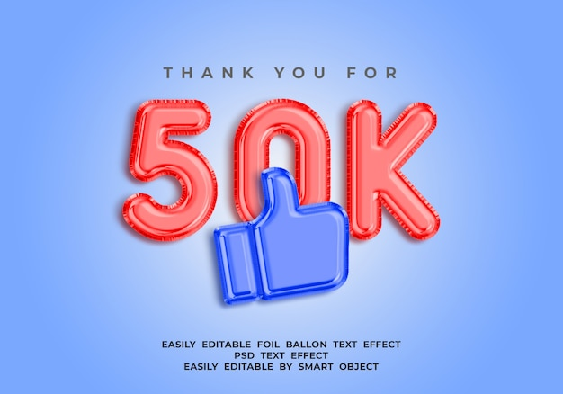 Grazie per 50k follower, effetto testo palloncino foil 3d per i social media Psd Premium