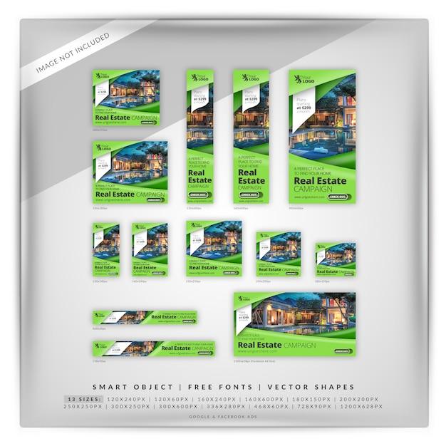 Green sharp real estate anuncios de google y facebook PSD Premium