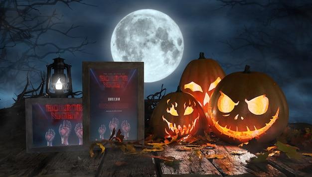 Griezelig halloween arrangement met enge pompoenen en ingelijste horror posters Gratis Psd