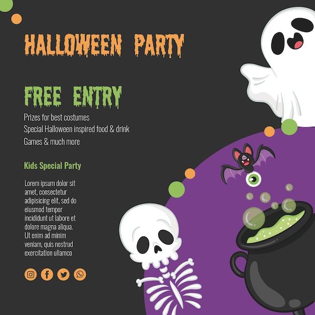 Griezelig halloween-concept met skelet en spook Gratis Psd