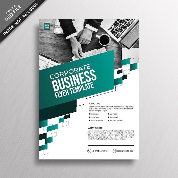 Groen teal geometry business stijl flyer sjabloonontwerp Premium Psd