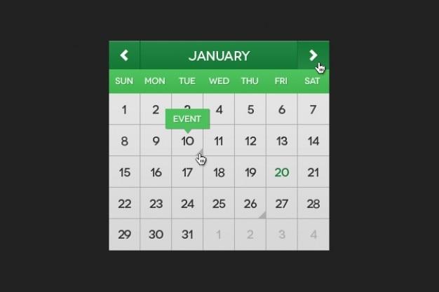 Groene kalender psd materiaal Gratis Psd