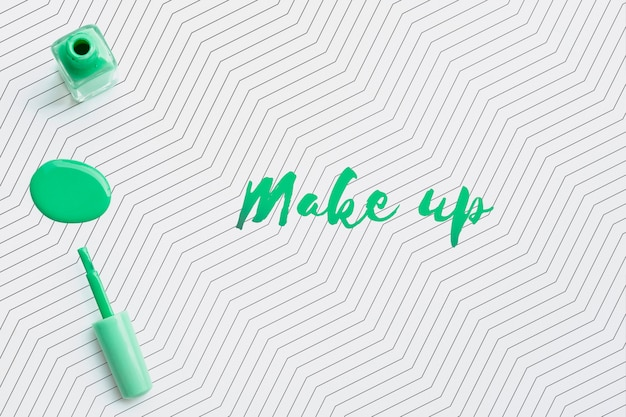 Groene nagellak make-up concept mock-up Gratis Psd