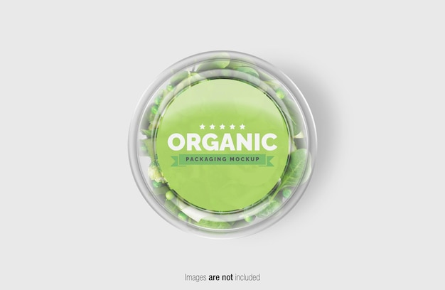 Groene salade box mockup met sticker Premium Psd