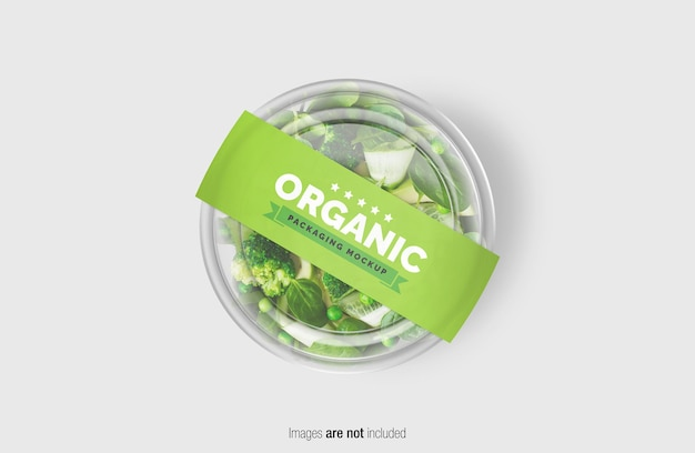 Groene salade doos mockup met papieren omslagetiket Premium Psd