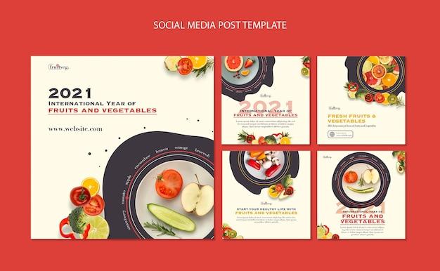 Groenten en fruit jaar instagram postsjabloon Gratis Psd