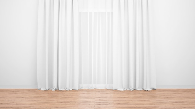 Groot raam met fijne witte gordijnen. houten vloer. lege ruimte als minimaal concept Gratis Psd