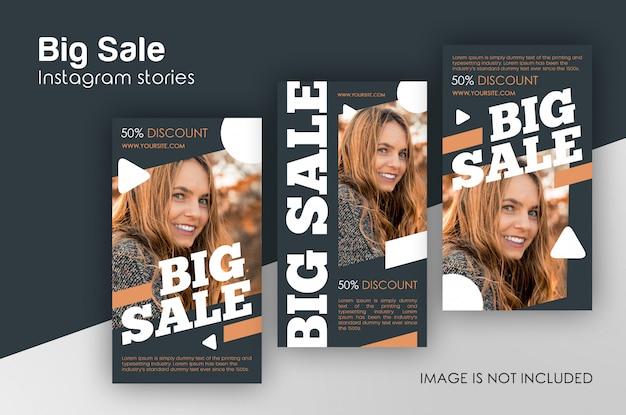 Grote verkoop instagram verhalen sjabloon Premium Psd