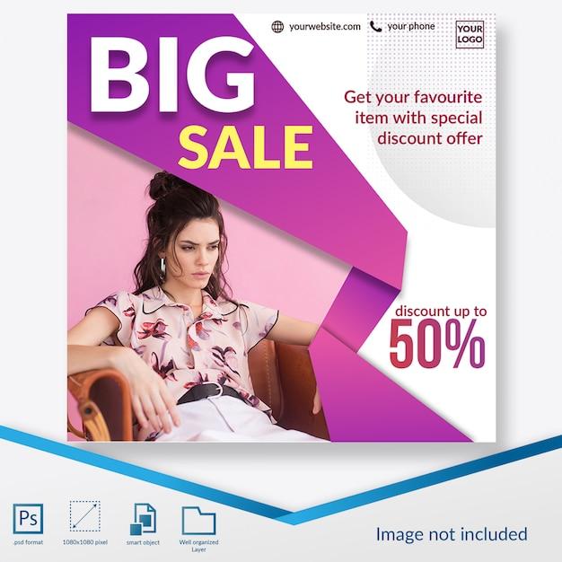 Grote verkoop korting promo vierkante banner of instagram postsjabloon Premium Psd