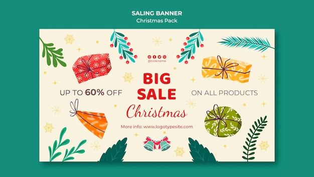 Grote verkoop met kortingen voor kerstmis Gratis Psd