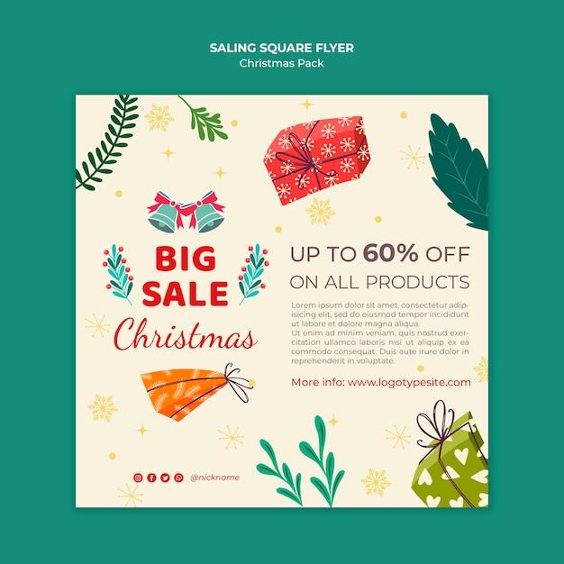 Grote verkoop voor kerstflyer Gratis Psd