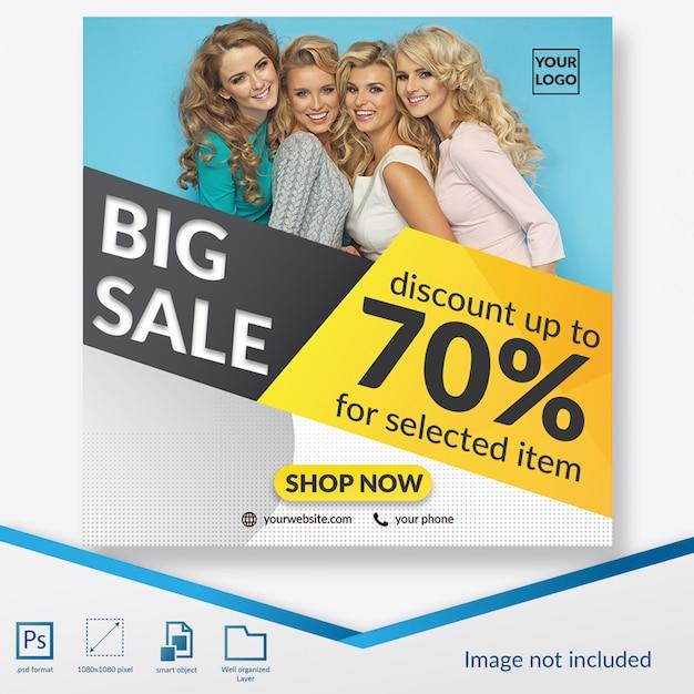 Grote verkoopaanbieding met speciale kortingsvierkantbanner of instagram postsjabloon Premium Psd