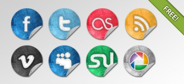 Grunge social network pictogrammen Gratis Psd