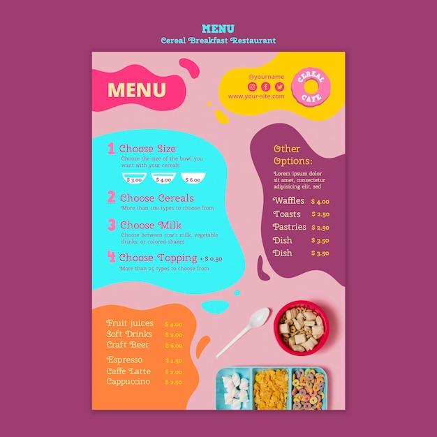Gustoso menu del ristorante per la colazione con cereali Psd Gratuite